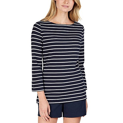 (Nautica Women's 3/4 Cuffed Sleeve Chambray Casual Top (Navy White Stripe, X-Large))