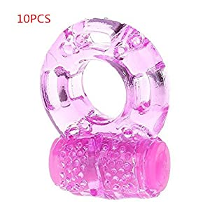 10pcs/Vibration Delay Ring Silicone Massage Ring (Pink)