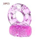 10pcs/Vibration Delay Ring Silicone Massage Ring (Pink)