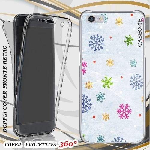 CUSTODIA COVER CASE SNOWFLAKES PER IPHONE 6 PLUS FRONT BACK