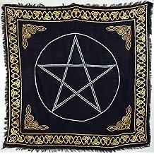 AzureGreen Gold Bordered Pentagram Altar Cloth, 36-inch x 36-inch