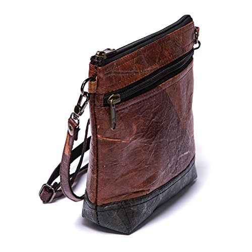 - Leaf Leather Shoulder Bag Womens Crossbody Purse, Adjustable - Ethical Fashion Handmade with Tree Leaves - Brown with Black Accent