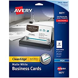 Avery Printable Business Cards, Inkjet Printers, 200 Cards, 2 x 3.5, Clean Edge, Heavyweight (8871), White