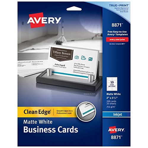 (Avery Printable Business Cards, Inkjet Printers, 200 Cards, 2 x 3.5, Clean Edge, Heavyweight (8871), White )