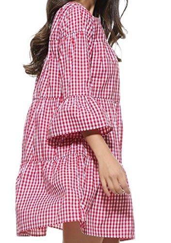 Pieghe Manicotto Comfy Del Donne A Colore Plaid Chiarore Linea Vestito Periodo A Di Del Rosso Di Novità 86rpq8Un