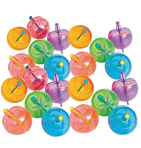 Kidsco Spinning Tops with Glitter 1 5/8 - Pack of 48 – Assorted Glittery Neon Colors - Spin Tops for Kids, Great Party Favors, Bag Stuffers, Fun, Toy, Gift, Prize