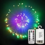 Adpartner LED String Lights, Outdoor Hanging Starburst Fairy Light Waterproof 120 LEDs 60 Strands Copper Wire Twig Light for Halloween Christmas New Year Decorations, Dimmable 8 Modes Battery Powered
