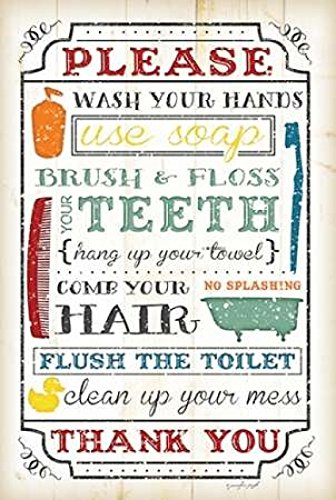 Amazon com: Posterazzi Bathroom Rules Poster Print by