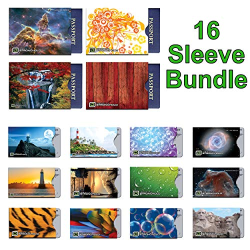 16 RFID Blocking Sleeves in Fun Realistic Designs! (12 Credit Card Holders & 4 Passport Protectors) Ultimate Premium Identity Theft Protection Sleeve Set for Men & Women.