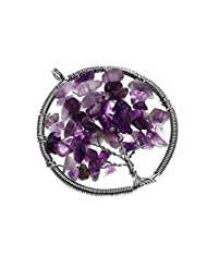 ESCU Handmade Natural Amethyst-Wire Wrap Tree Of Life Chips Charm Gemstone Bead Necklace Pendant