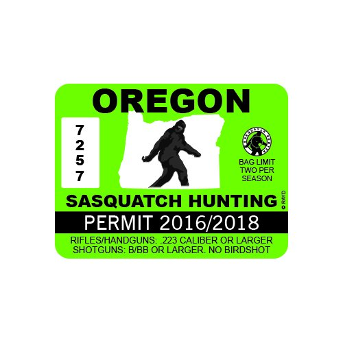 RDW Oregon Sasquatch Hunting Permit - Color Sticker - Decal - Die Cut