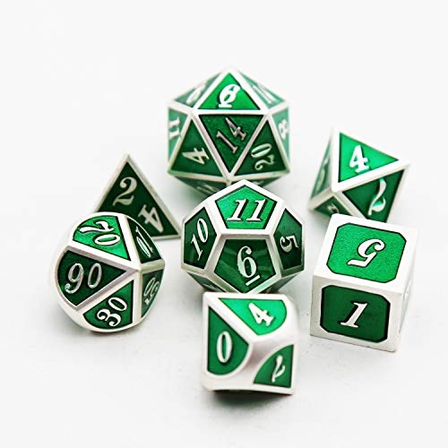TLL TECHNOLOGY Metal Game Dice 7PCS Green Metal Dice Set D&D Dice Enamel Polyhedral DND Dice Set D20 D12 D10 D8 D6 D4 for Dungeons and Dragons DND RPG MTG Table Games (Emerald Green) ()