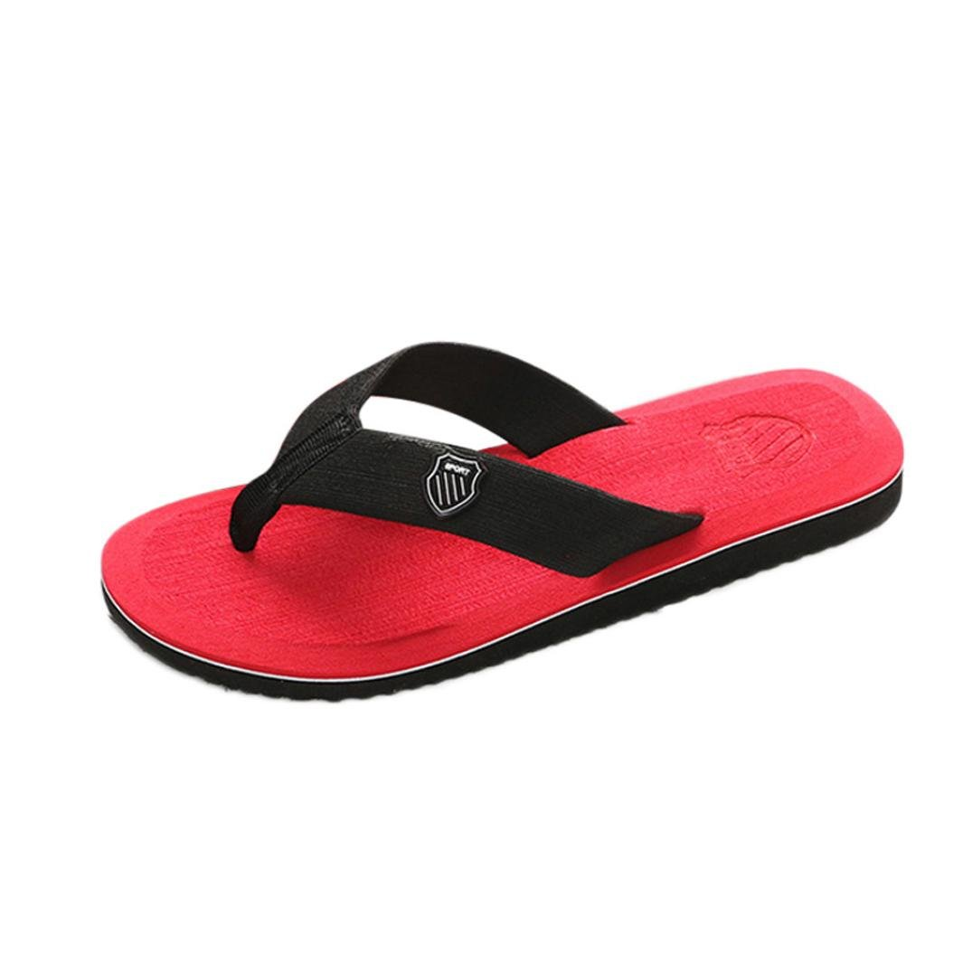 Inkach Mens Summer Sandals - Fashion Flip Flops Bath Slippers Beach Flat Shoes (41 (US:7.5), Red)