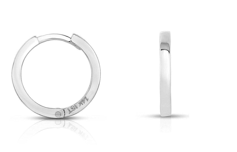MCS Jewelry 14 Karat White Gold Men's Unisex SINGLE Huggie Hoop Earring (Diameter: 13 mm)
