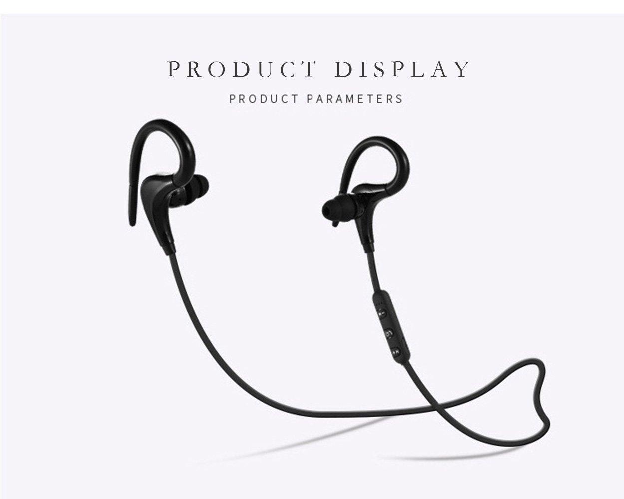 Auriculares Bluetooth, Auriculares deportivos inalámbricos Impermeable 4.1HD Auriculares estéreo a prueba de sudor en la oreja Auriculares con micrófono ...