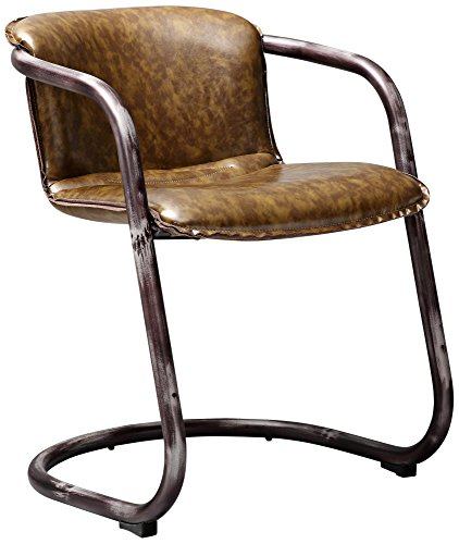 TOV Furniture The Colt Collection Modern Western Style Eco-Leather Upholstered Dining Chair, Cognac