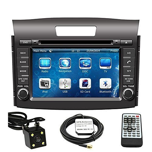 Car GPS Navigation System for Honda CRV 2012 2013 2014 Double Din Car Stereo DVD Player 8 Inch LCD Touchscreen TFT Monitor In-dash DVD Video Receiver with Built-In Bluetooth TV Radio, Support Factory Steering Wheel Control, RDS SD/USB input iPod AV BT AUX IN+ Free Rear View Camera + Free GPS Map of USA Factory Av Systems