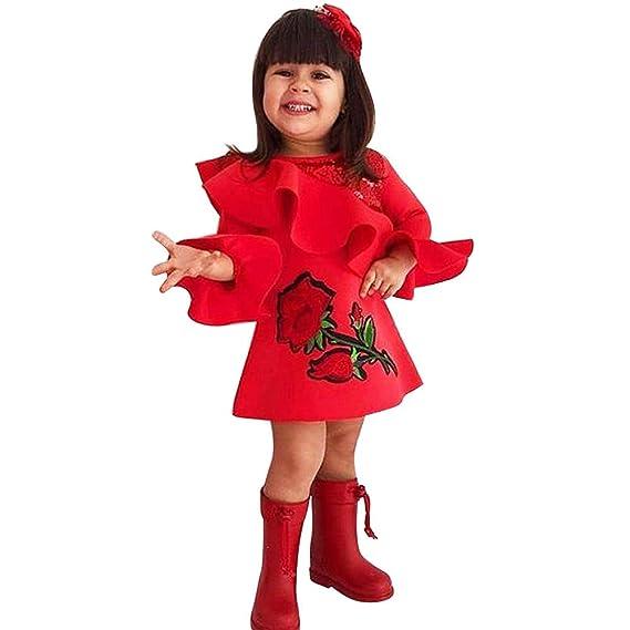 Mitlfuny Mädchen Kinder Kleid Prinzessin Party Rock Kleinkind Kind Baby Mädchen Prinzessin Blumenkleid Haarband Baumwolle Kleidung Kleid Sets Mädchen (0 -24 Monate)