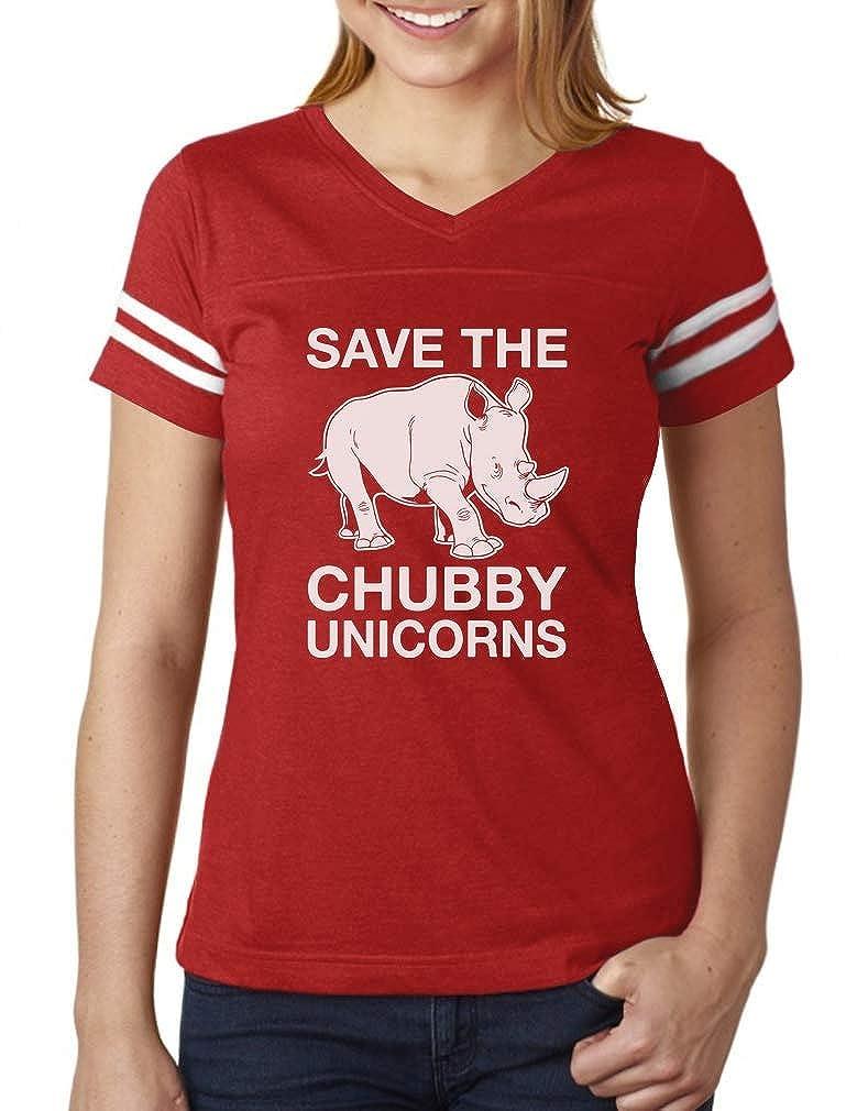 TeeStars - Save The Chubby Unicorns Rhino Funny Women Football Jersey T-Shirt GtPh0htgSu