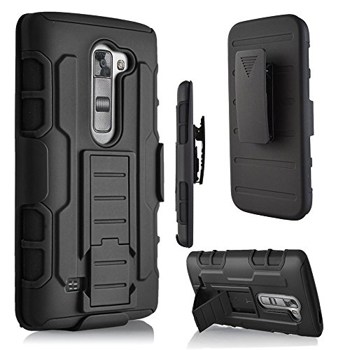 LG K10 Case, MCUK 3 Layer Shock Resistant Hybrid Armor Full Body Protective Case with Kickstand and Removable Holster Swivel Belt Clip Cover for LG K10 (LG K10)