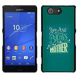 EJOY---Cubierta de la caja de protección para la piel dura ** Sony Xperia Z3 Compact ** --Badass Madre Día Verde Amarillo