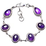 "Natural Amethyst Handmade Unique 925 Sterling Silver Bracelet 7 3/4-8 3/4"" Y2867"