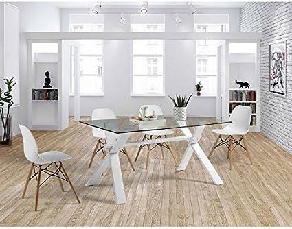 Amueblalo Set Da Sala Da Pranzo Tavolo In Vetro 150 Cm E 4 Sedie Rubik Amazon It Casa E Cucina
