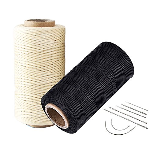 Wareway 2pcs 150D 0.8mm Leather Sewing Hand Stitching Craft Waxed Thread String Cord with 7 Needles Tools Set(Black and Beige)
