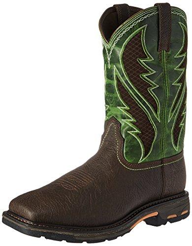Ariat Work Men's Workhog Venttek Work Boot, Bruin Brown/Grass Green, 7.5 D US
