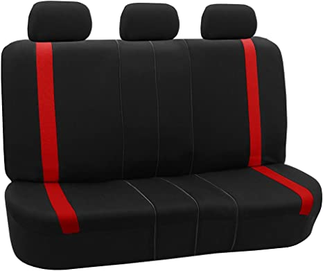 Black /& Red Cloth Car Seat Covers Split Option Bench and Steering Wheel Cover