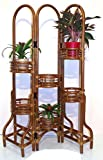 Handmade Natural Rattan Wicker Plant Flower Stand Natural 6 Tier, Cognac