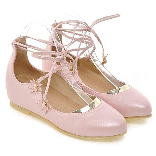 COOLCEPT Maedchen Sweet Schnurung Pumps Height Increasing Geschlossene Schuhe Pink