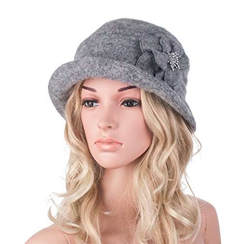 380481bf6e429 Womens GATSBY 1920s Winter Wool Cap Beret Beanie Cloche Bucket - Import It  All