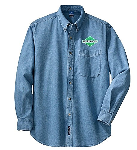 Illinois Central Green Diamond Long Sleeve Embroidered Denim Adult 4XL [den06LS] - Illinois Embroidered Long Sleeve