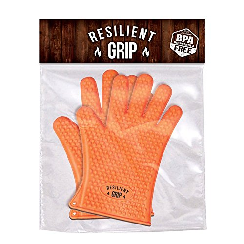The Original BBQ Gloves By Resilient Grip - Premium Rated Heat Resistant Flexible Silicone Cooking Or Grilling Gloves - Great Pot Holder Or Oven Mitt Replacement - Must Have BBQ Accesories - One Size Fits All - Lifetime Warranty!