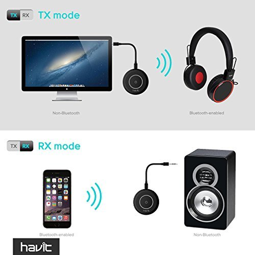 HAVIT Bluetooth 4.1 Transmitter Receiver(aptX), Pair 2 at Once, Mini Wireless Portable Bluetooth Adapter to 3.5mm Audio Devices and Home Stereo, Such as TV, MP3, CD Player, PC, eBook Reader (HV-BT018)