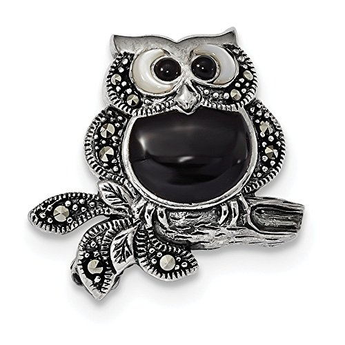 925 Sterling Silver Antiqued Marcasite Pearl and Black Agate Owl Pin for (Marcasite Owl Pin)