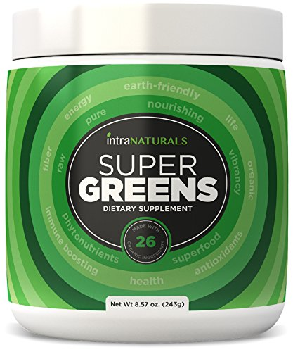 SUPER GREENS  Greens Powder w Organic Spirulina Chlorella & Wheat Grass PLUS Organic Fruits & Veggies Probiotics and Enzymes (Comparable to Amazing Grass and Greens) 26 Organic Ingredients