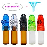 GoldenMonkeys Snuff Bullet Acrylic Plastic Snuff Dispenser and Glass Snuff Bullet Combo Convenient Carry 67MM Height with Micro Funnel for Free(5 Pack)4