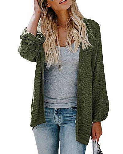 Farktop Womens Cardigans Sweaters Casual Knit Open Front Lightweight Long Boyfriend Coats -