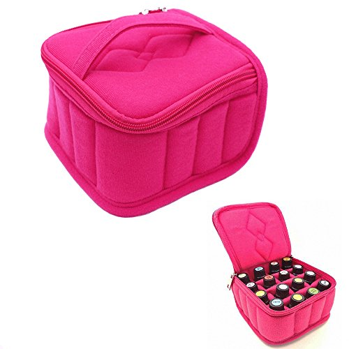 16 Bottles Essential Oil Carrying Case Shockproof Essential Oils Organizer Travel Bag Suitable for 5 ml/10 ml/15 ml Bottles with Portable Handle and Double Zipper (Rose)
