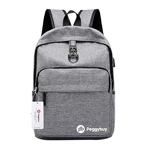 Anti For Usb Canvas Pb Rucksack women theft Men Backpack College Laptop Peggybuy grey Charging qUpTwvWxtX