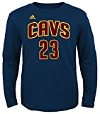 Adidas NBA Youth Lebron James Cleveland Cavaliers Player Name and Number Long Sleeve Jersey T-Shirt, Youth Medium, Navy offers