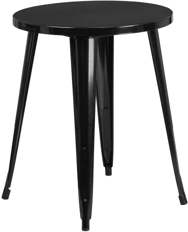 "Flash Furniture Commercial Grade 24"" Round Black Metal Indoor-Outdoor Table"