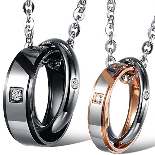 Oidea 2 Pcs Stainless Steel True Love Lover's Message Pendant Necklace, Dual Rings Hook-ups Pendant with Chain Included
