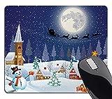 Wknoon Christmas Mouse Pad, Winter Season Snowman Xmas Tree Santa Sleigh Moon Present Boxes Snow and Stars, Rectangle Non-Slip Rubber Mousepad