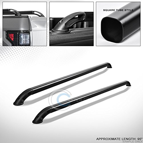 R/&L Racing Matte Black Sqaure Bar Truck Bed Side Rails RS 02-16 for Dodge Ram 8 Ft 96 Long Cab