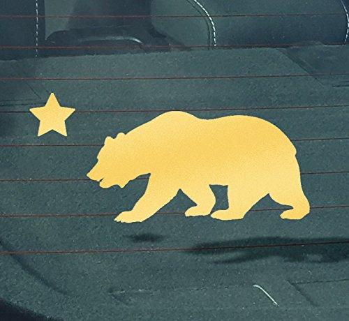 - GS2112 California Republic Cali State Cali Bear Vinyl Decal Sticker | 6-Inches X 2.75-Inches | Premium Quality GOLD Vinyl Decal