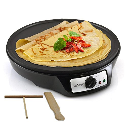 Electric Griddle Crepe Maker Cooktop - Nonstick 12 Inch Aluminum Hot Plate with LED Indicator Lights & Adjustable Temperature Control - Wooden Spatula & Batter Spreader Included - NutriChef (220 Volts Cooking Ranges)