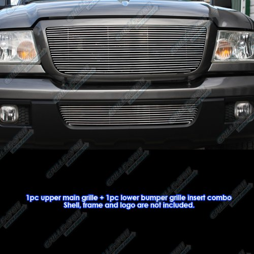 2006-2012 Ford Ranger Billet Grille Grill Combo Upper+Lower Insert #